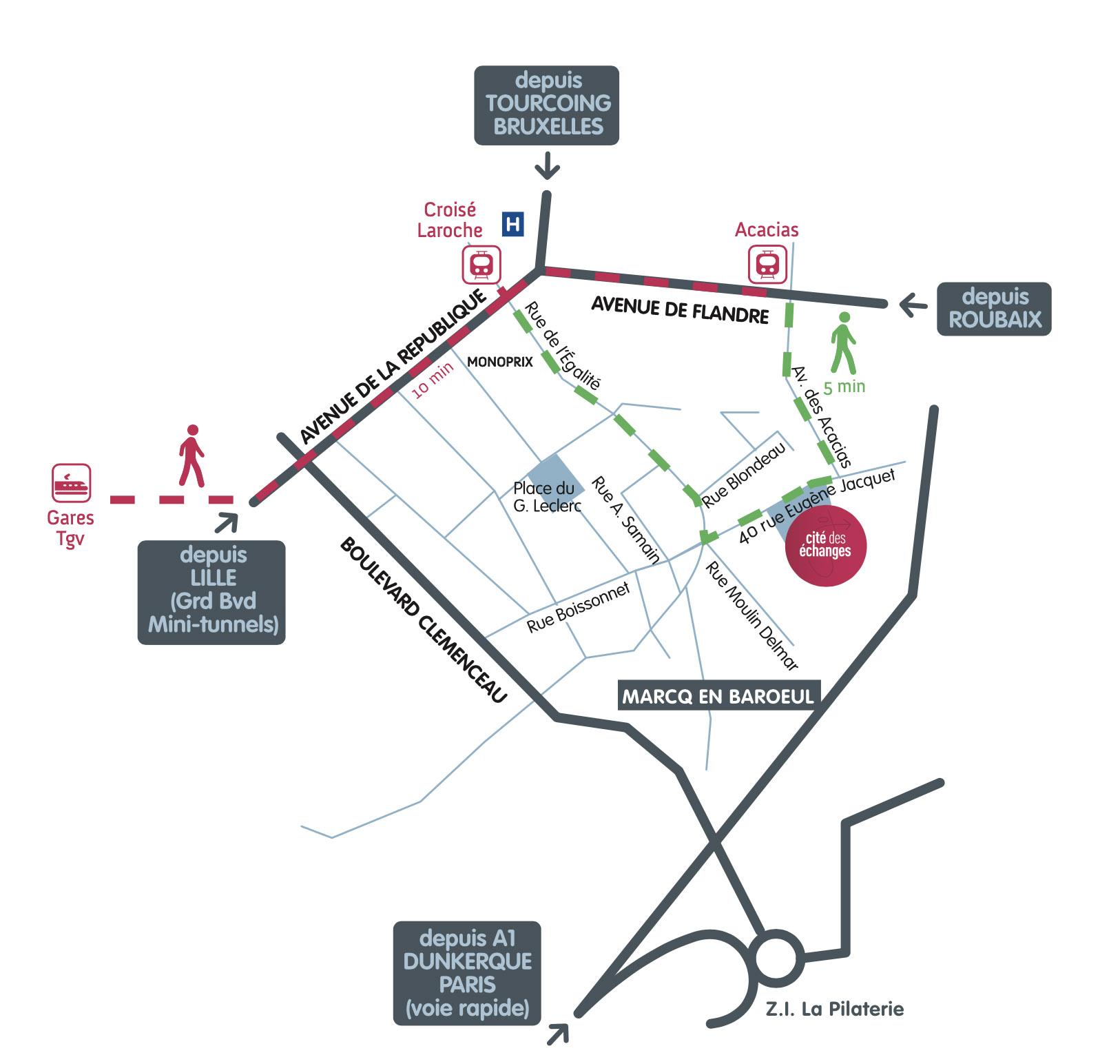 plan d'accès à la Cité des échanges